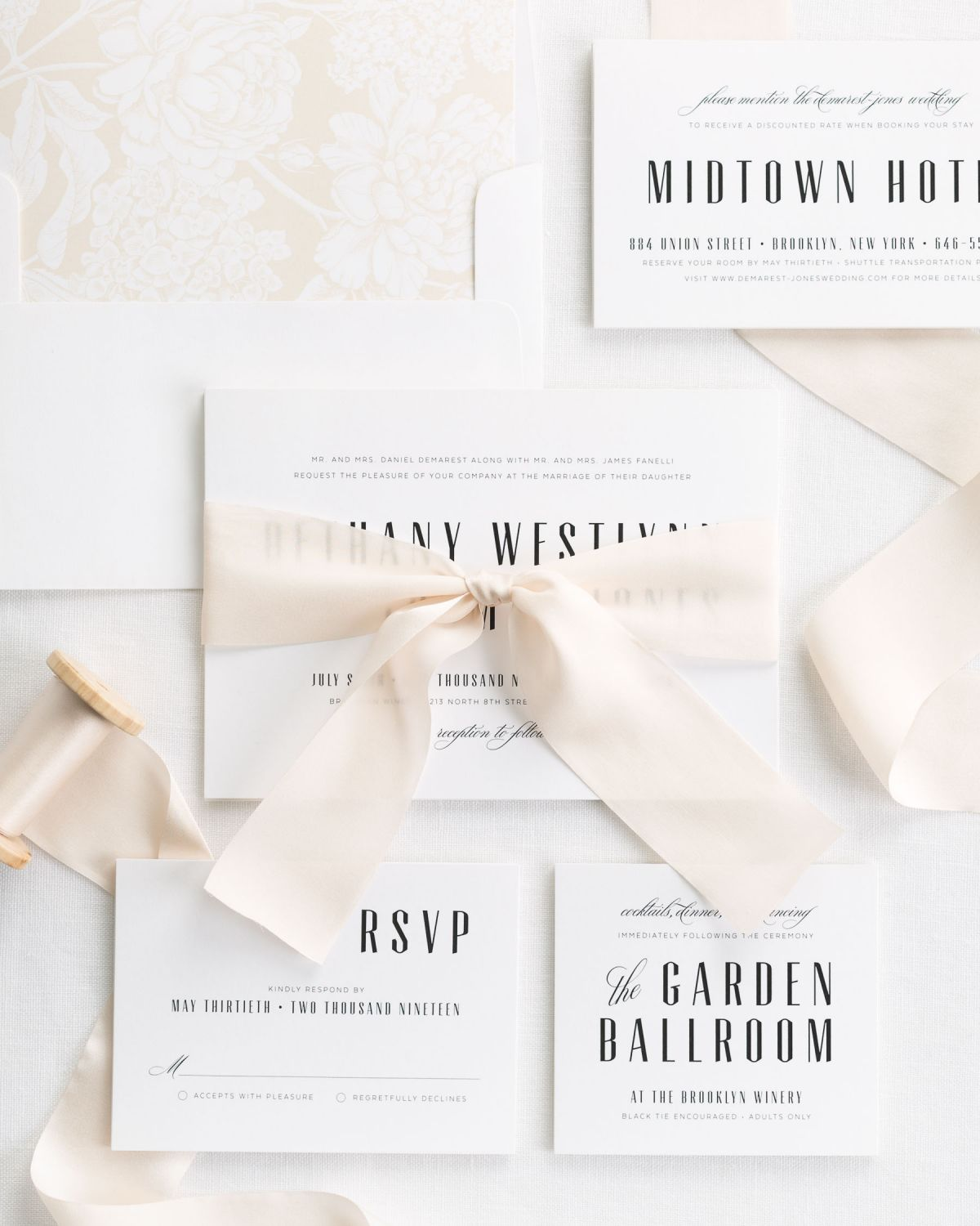 Complete Wedding Invitation Set with Cashmere Ribbon and Enclosures