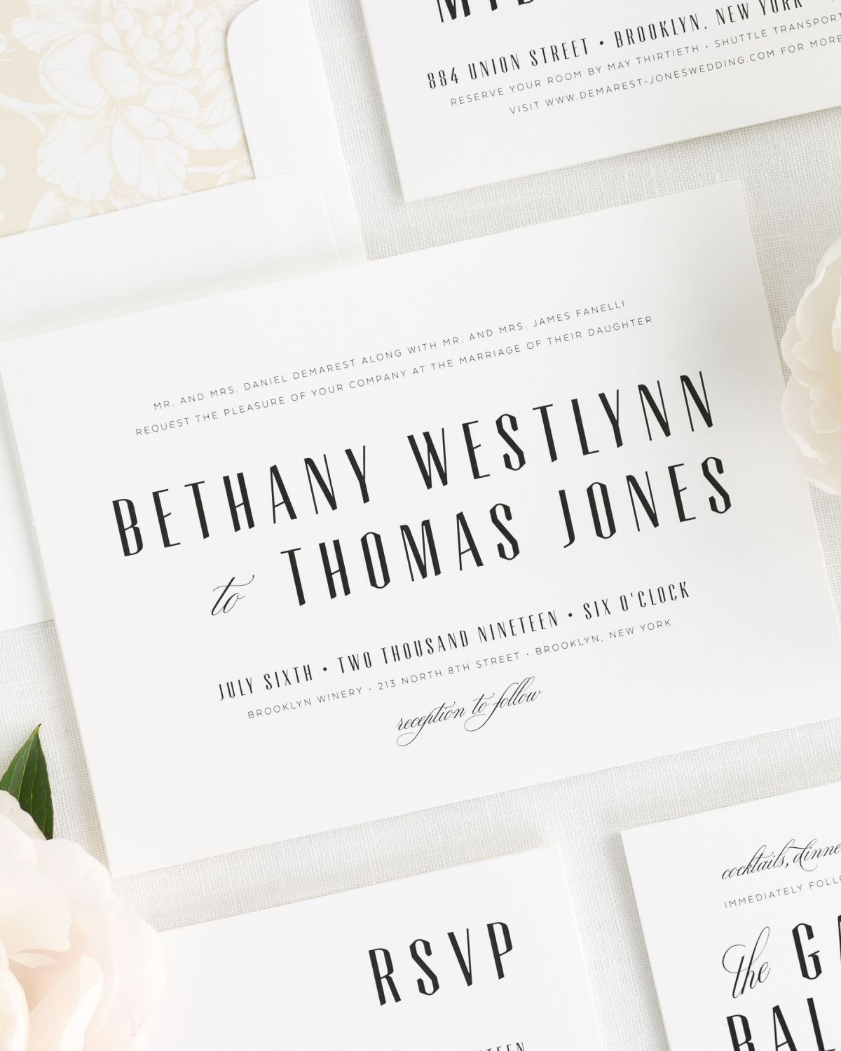 Mid Century Inspired Wedding Invitations In Champagne