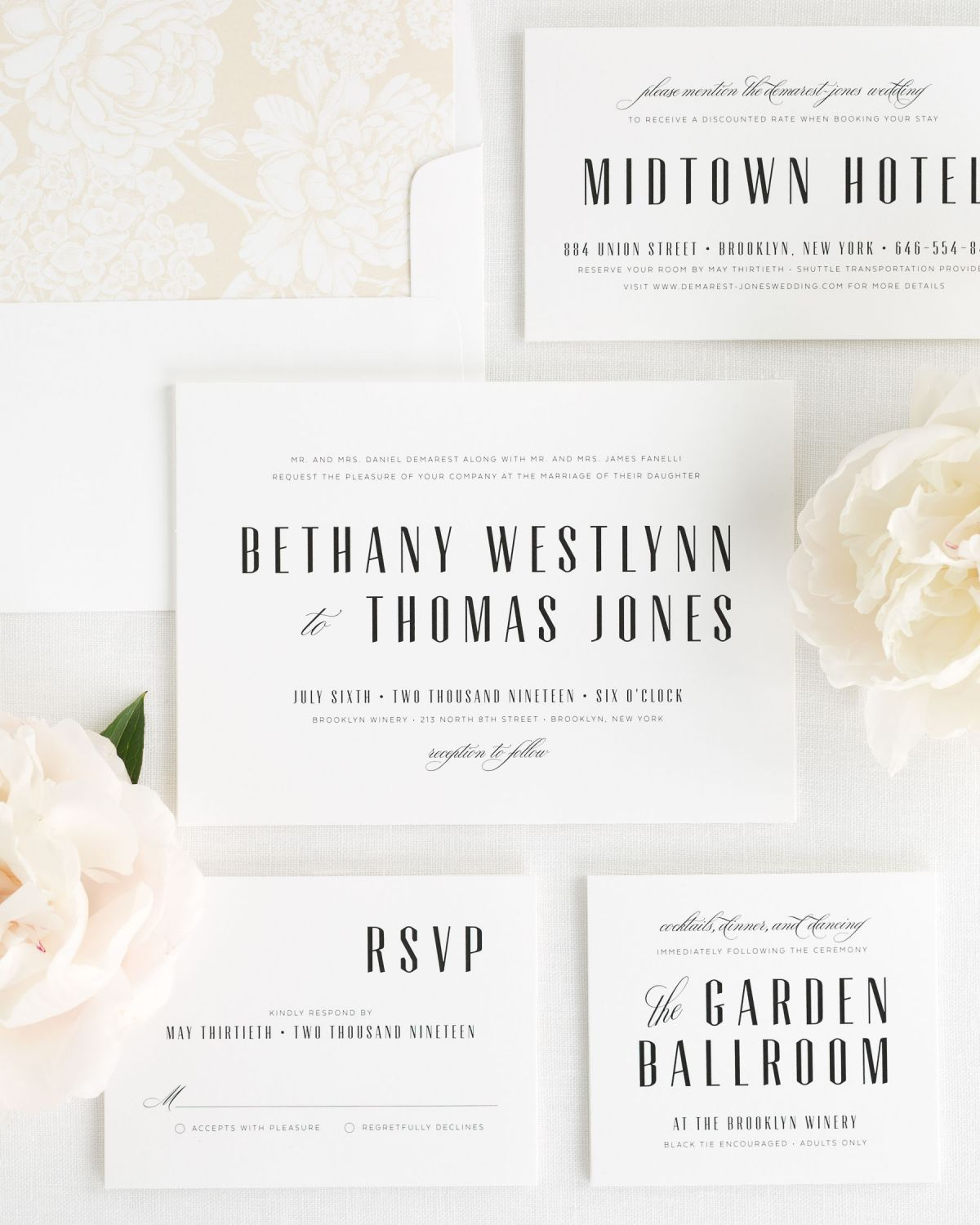 Art Deco Wedding Invitations with Bold Names