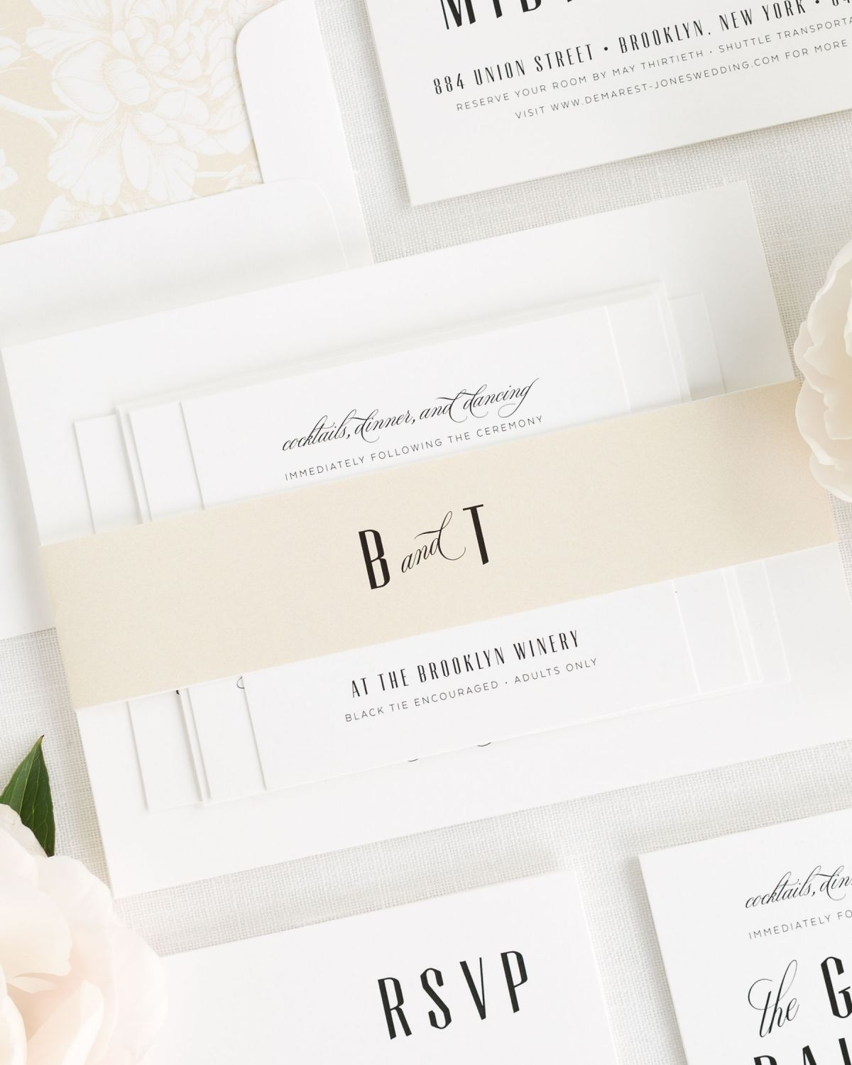 Champagne Wedding Invitations with Monogram and Envelope Liner