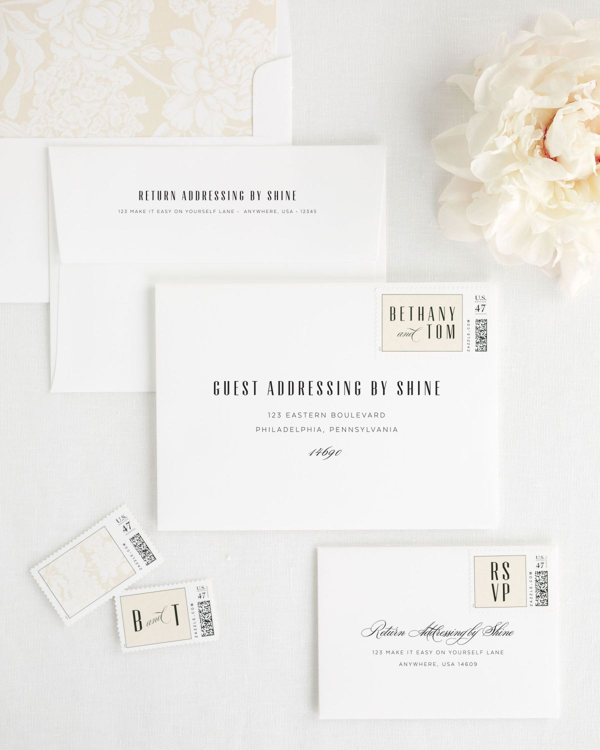 Modern Wedding Envelopes with Guest Addressing