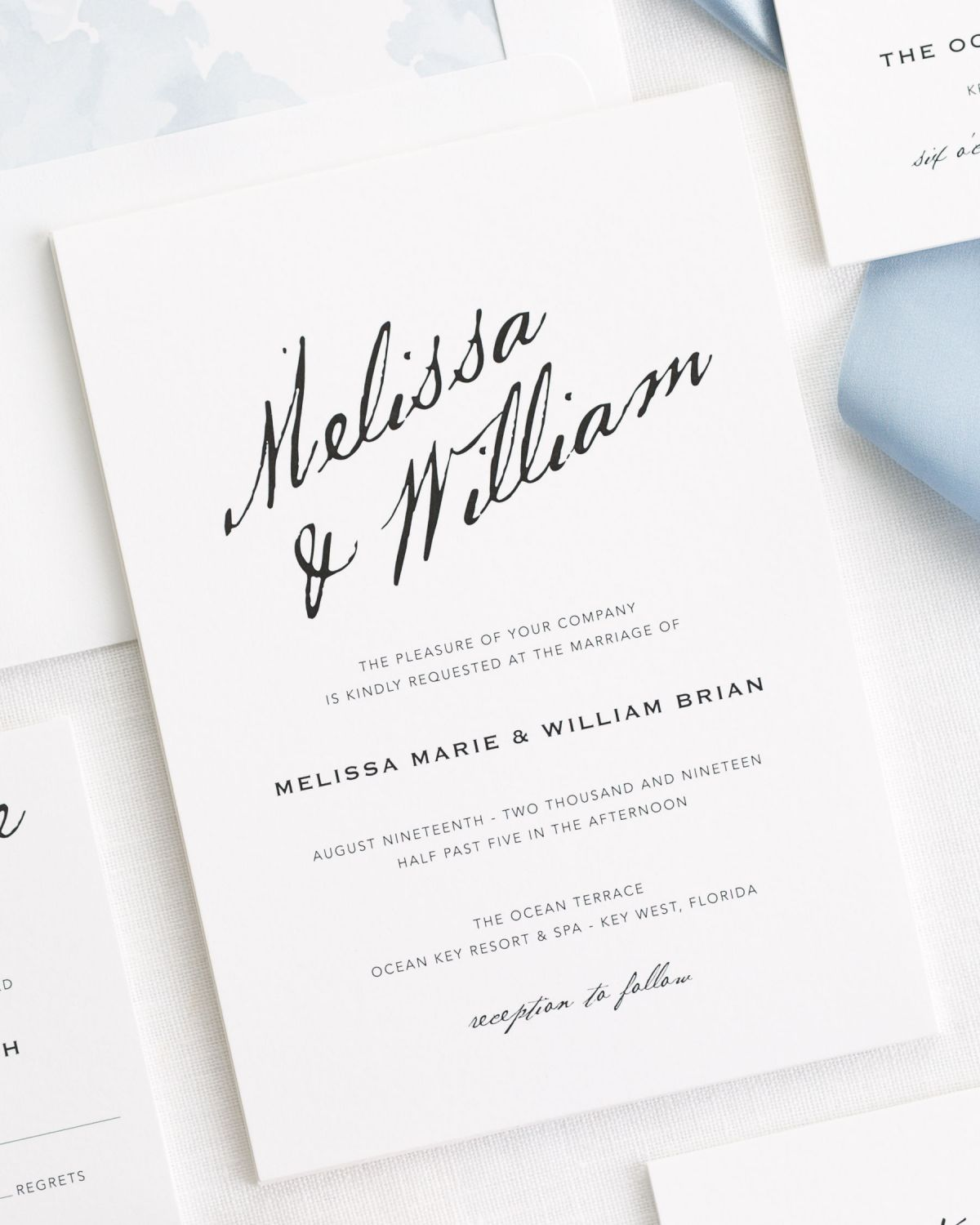 Modern Calligraphy Ribbon Wedding Invitations Ribbon