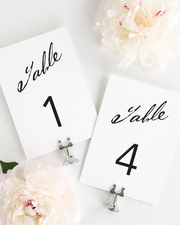 Modern Calligraphy Table Numbers