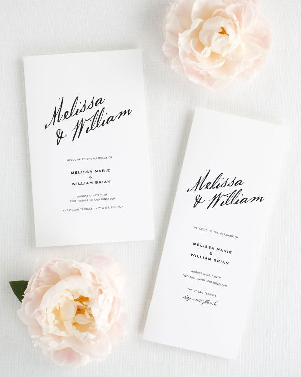 Modern Calligraphy Booklet Wedding Programs