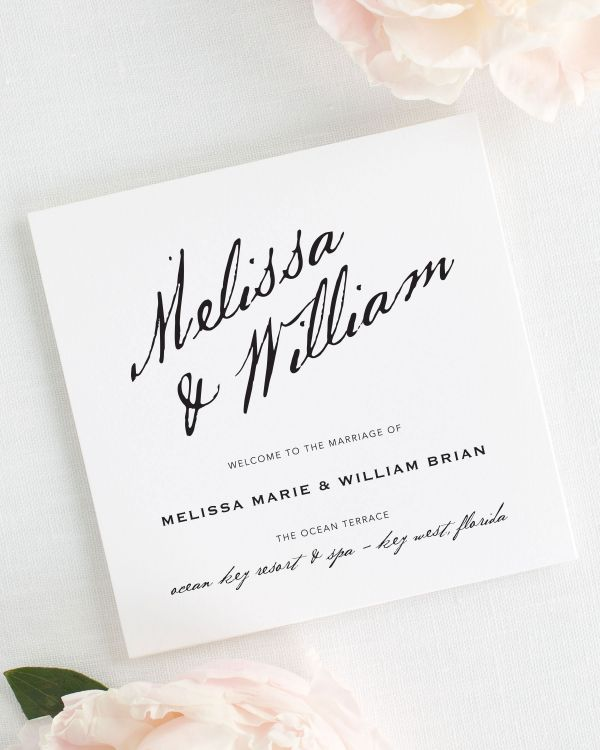 Modern Calligraphy Wedding Programs