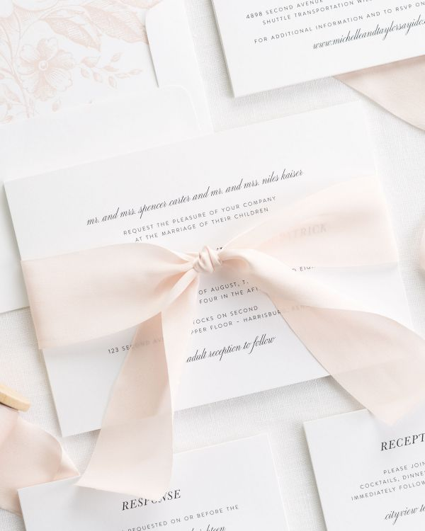 Modern Chic Ribbon Wedding Invitations