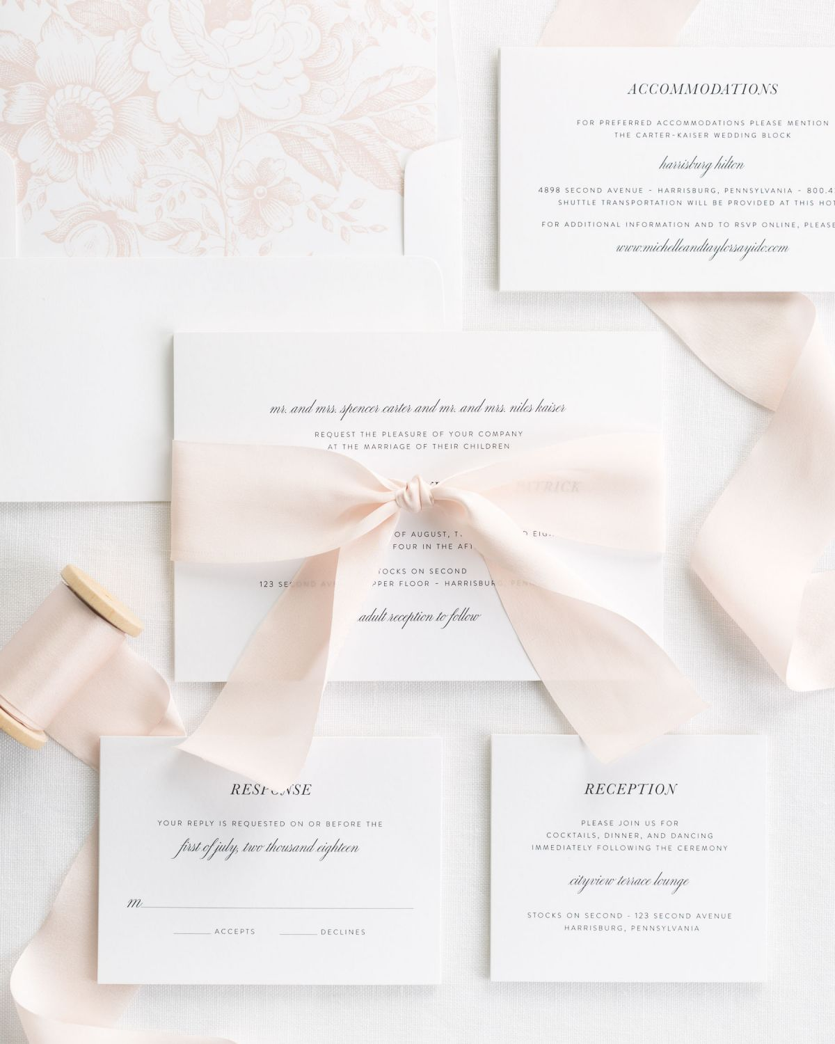 Complete Wedding Invitation Package with Champagne Ribbon and Enclosures