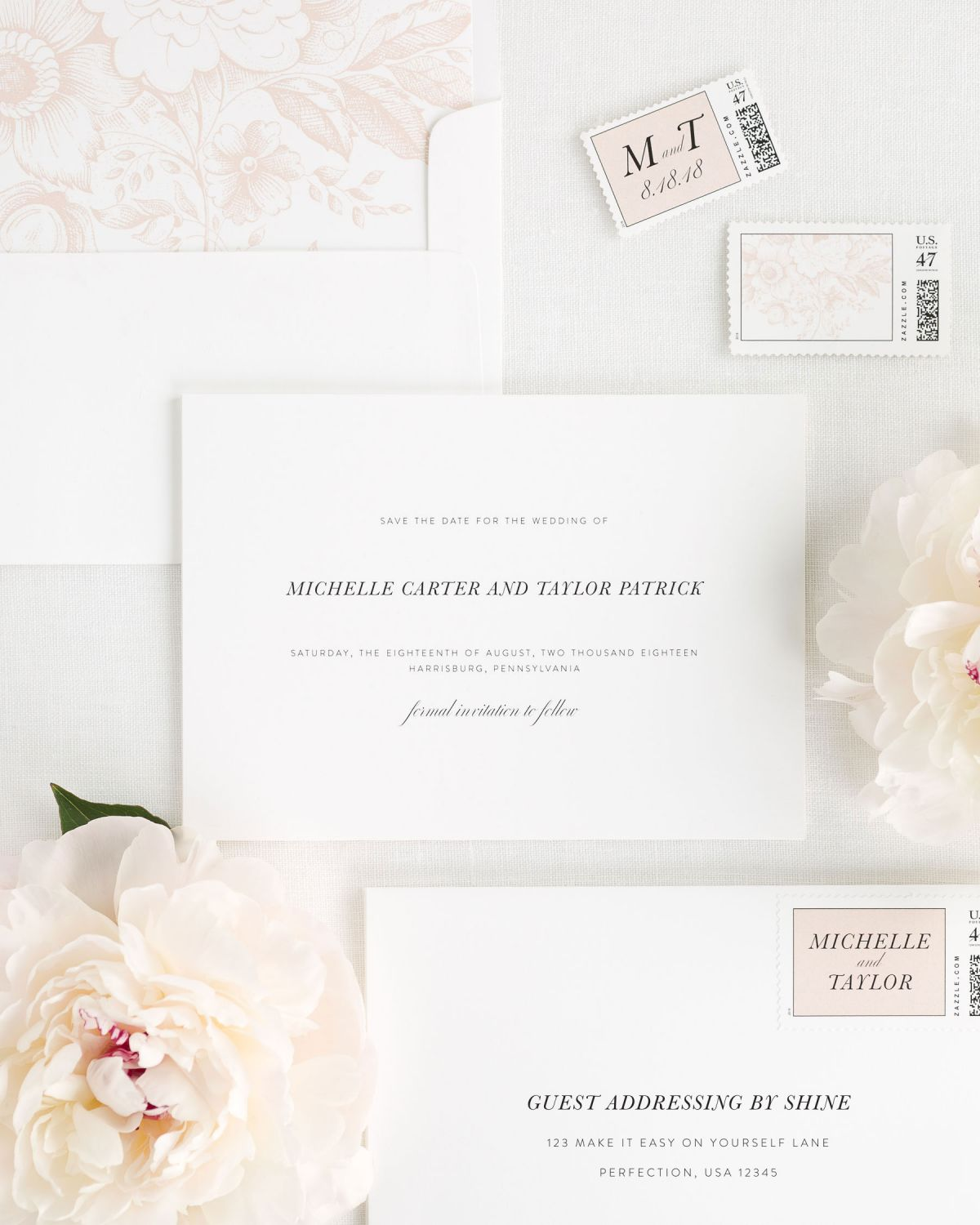 Save the Date with Rose Gold Envelope Liner and Custom Postage Stamps