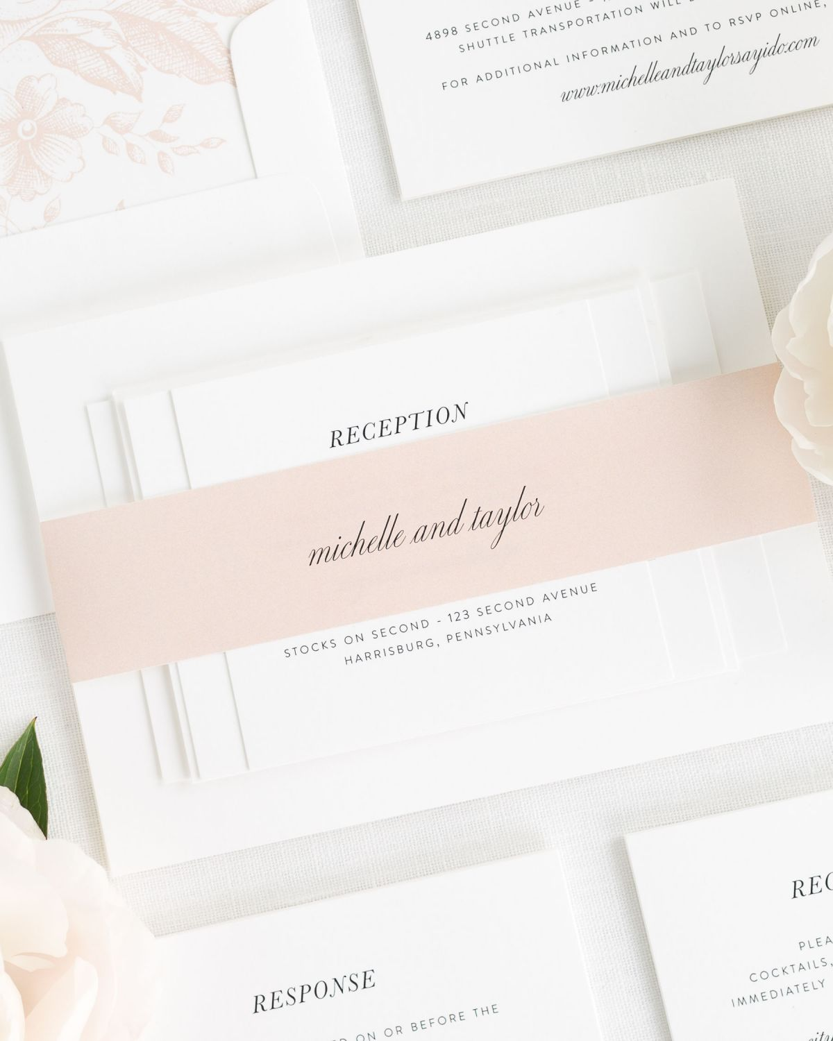 Rose Gold Wedding Invitations with Belly Band and Garden Rose Envelope Liner