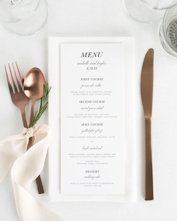 Modern Chic Wedding Menus