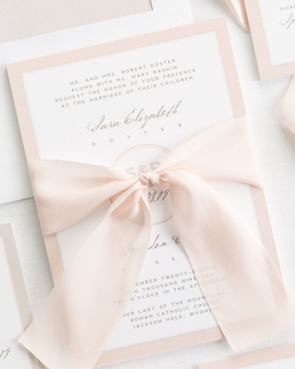 Modern Circle Logo Ribbon Wedding Invitations