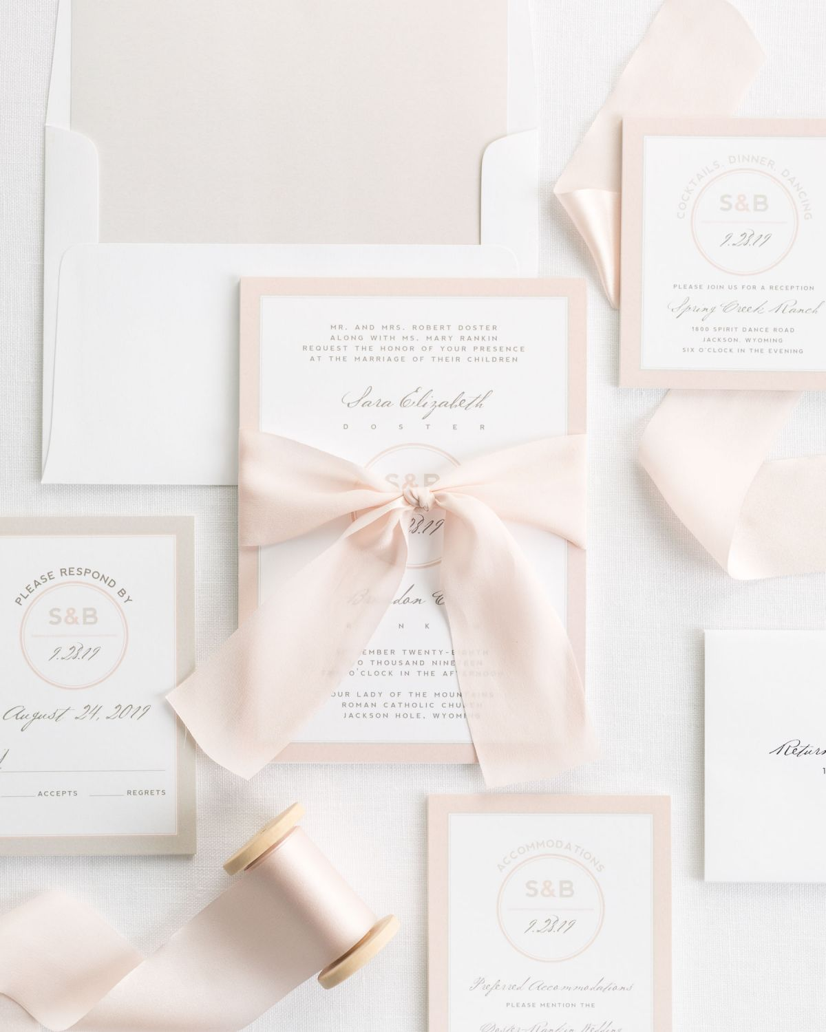 Complete Wedding Invitations with Blush Ribbon and Enclosures