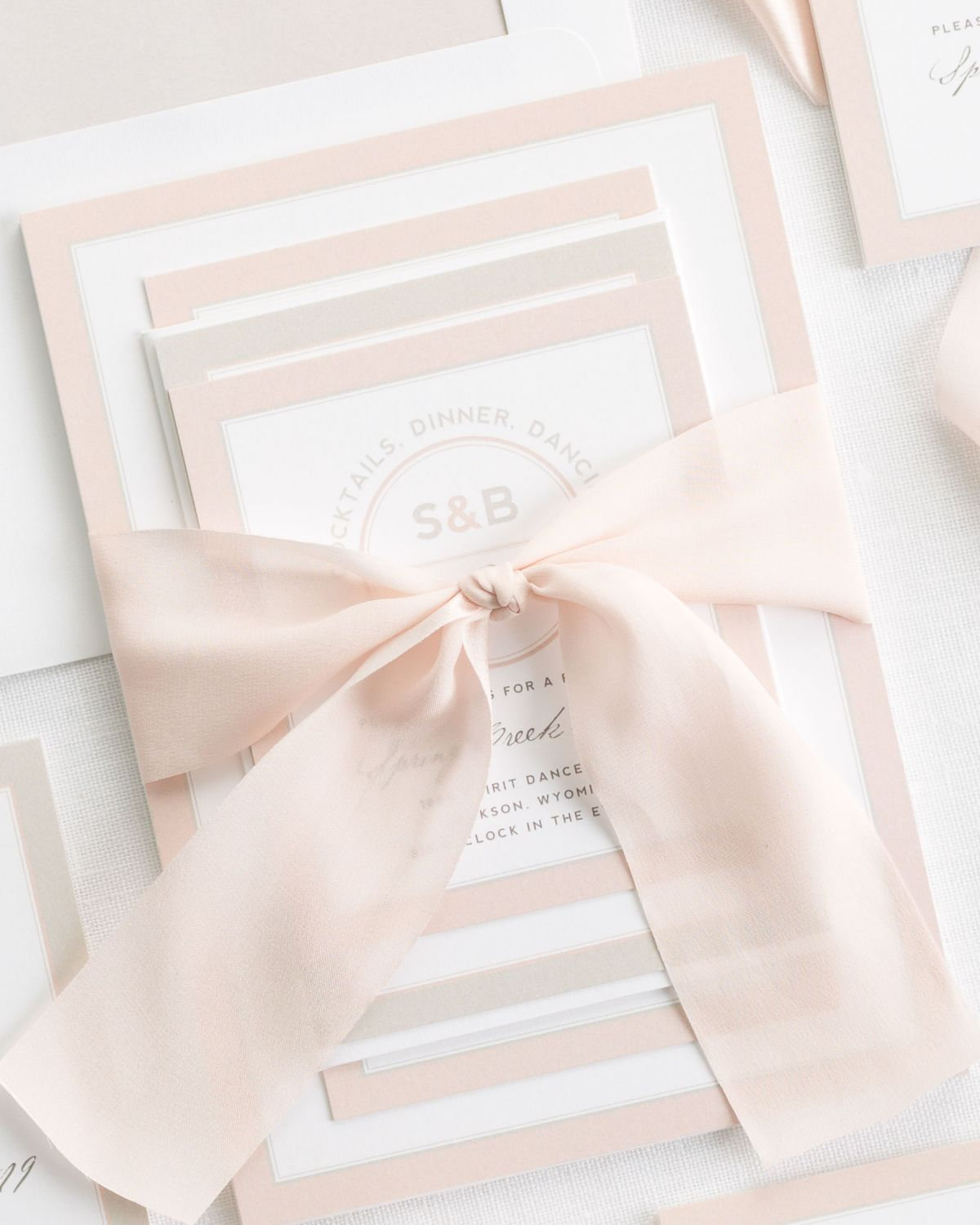 Pastel Wedding Invitations with Silk Ribbon