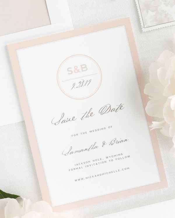 Modern Circle Logo Save the Date Cards