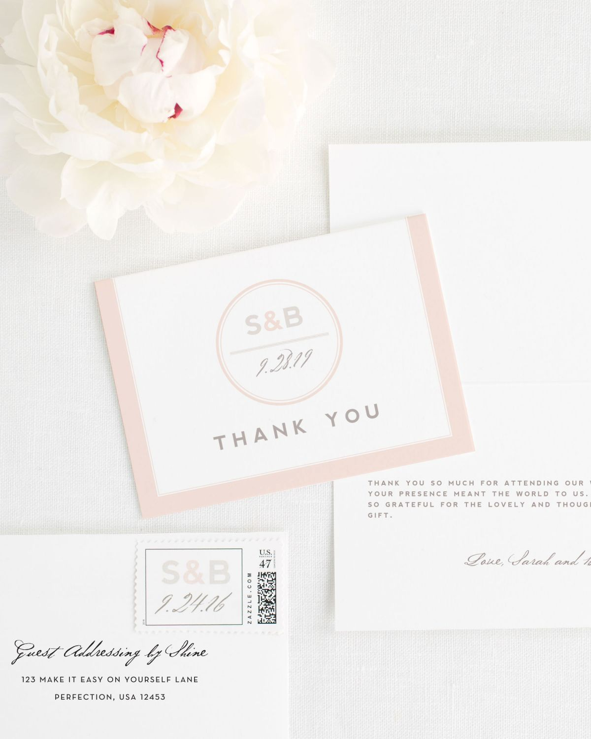 Monogram Thank You Cards with Personalized Stamps