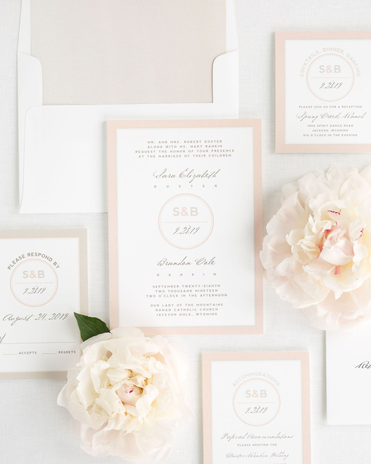 Wedding Invitations Suite with Mocha Envelope Liner