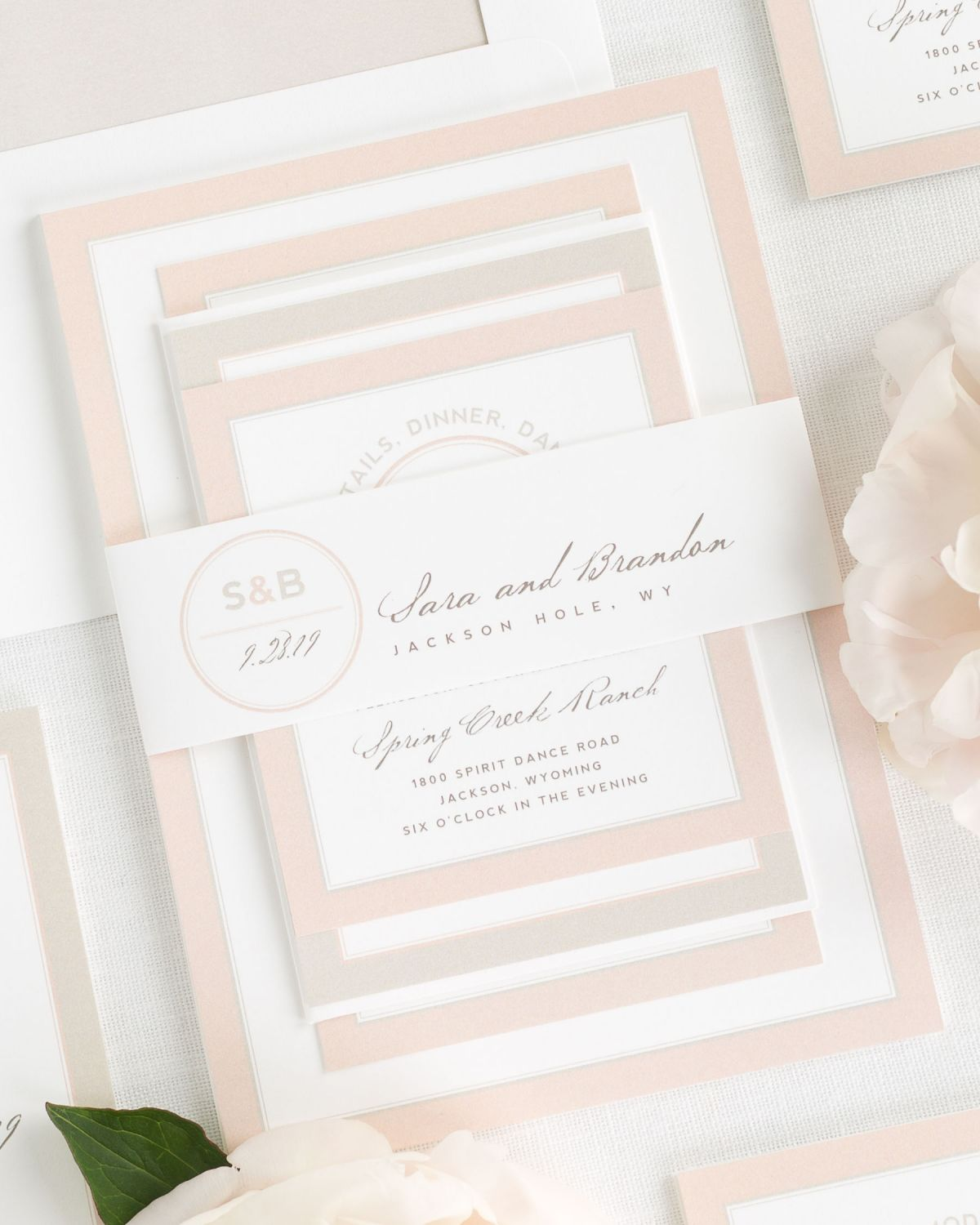 Mocha and Rose Gold Wedding Invitations with Belly Band and Simple Watercolor Envelope Liner