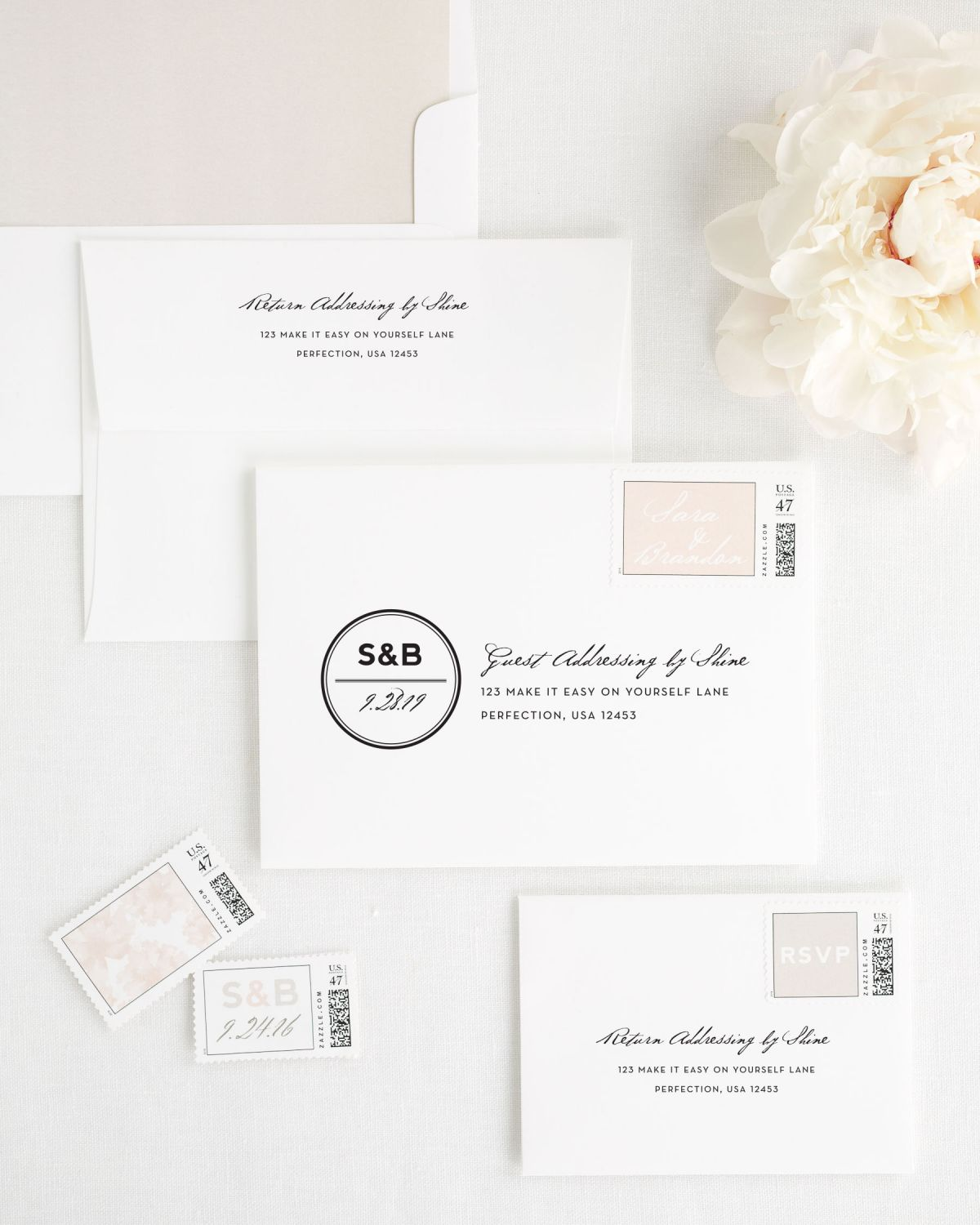 Wedding Invitation Envelopes with Rose Gold Personalized Stamps and Simple Watercolor Liner