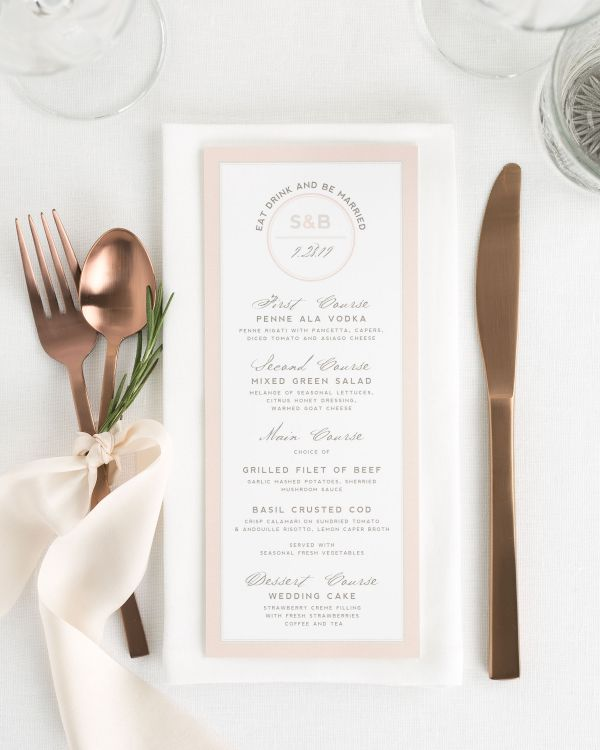 Modern Logo Circle Wedding Menus