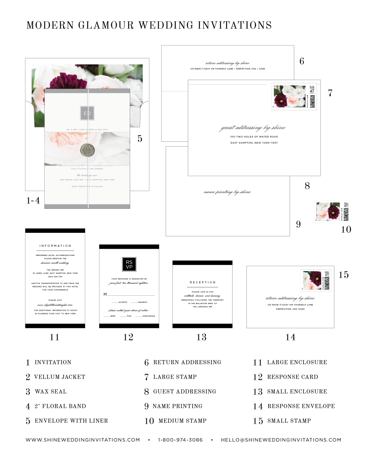Modern Glamour Floral Wedding Invitation Diagram