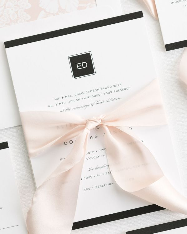 Modern Glamour Ribbon Wedding Invitations