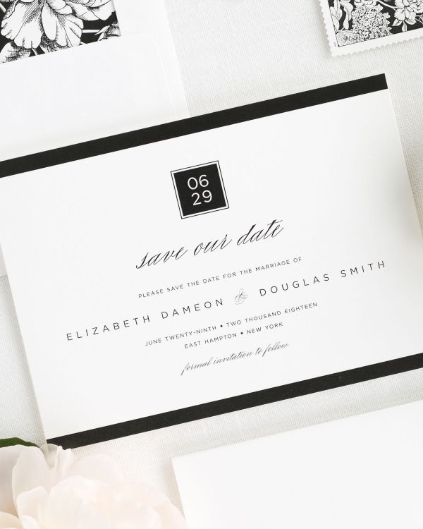 Modern Glamour Save the Date Cards