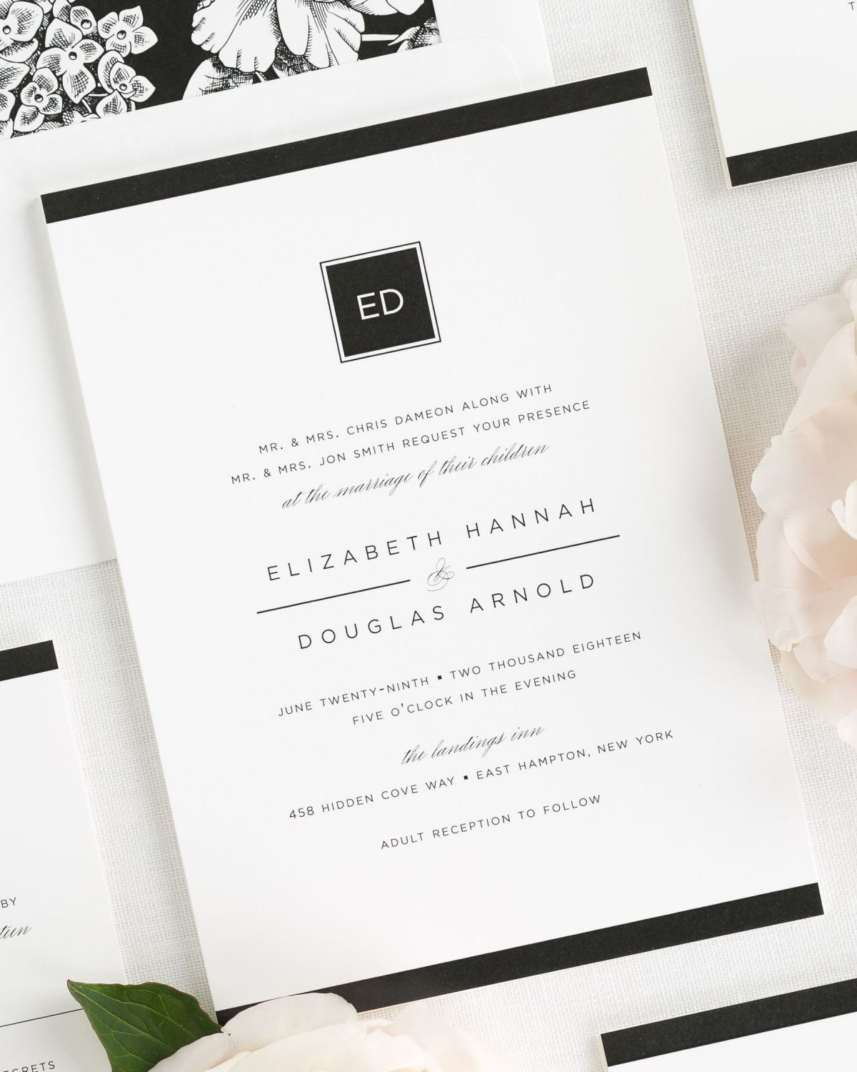Sophisticated Black and White Wedding Invitations – Wedding Invitations