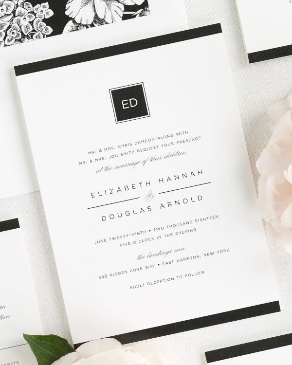 sophisticated wedding invitations with a black envelope liner
