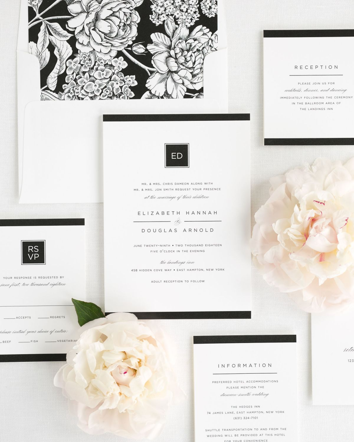 Wedding Invitation Package with Black Floral Envelope Liner