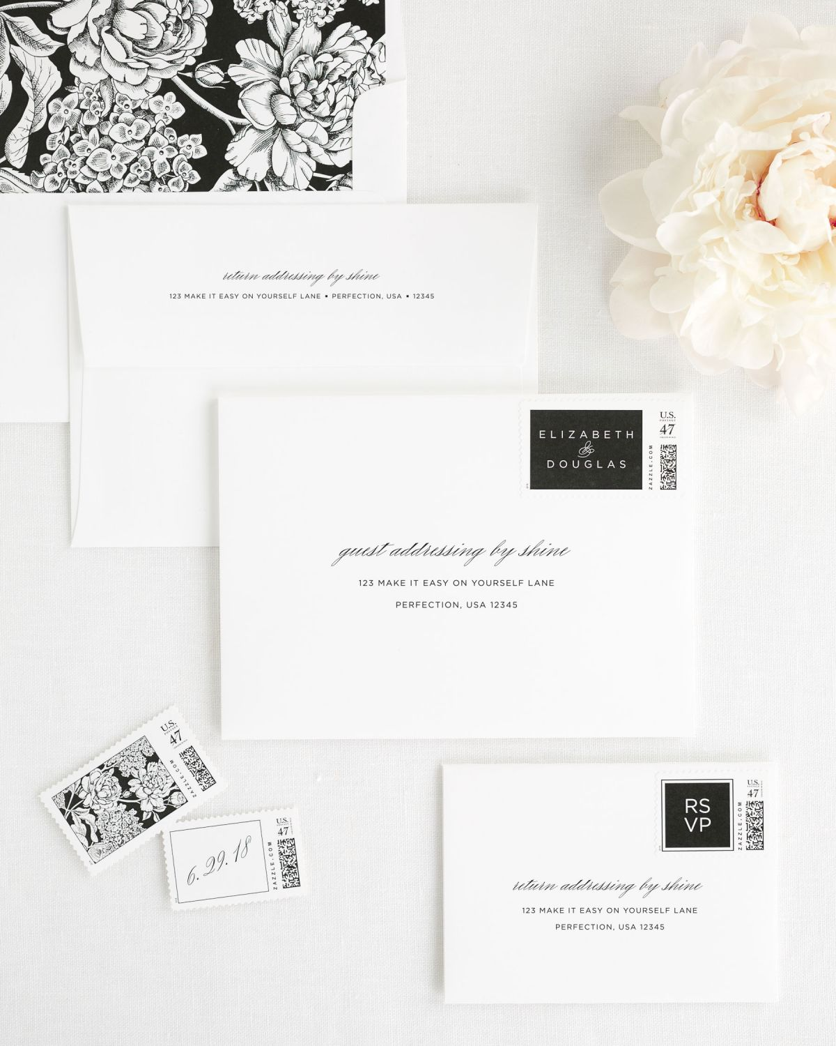 Wedding Invitation Envelopes with Custom Postage Stamps and Floral Envelope Liner