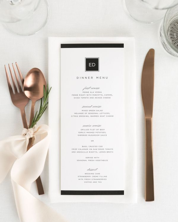 Modern Glamour Wedding Menus