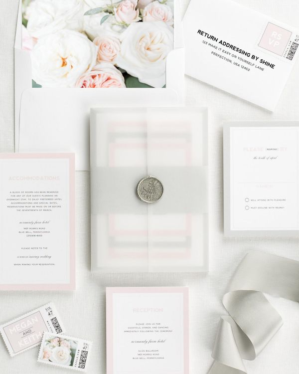 Modern Initials Floral Wedding Invitations