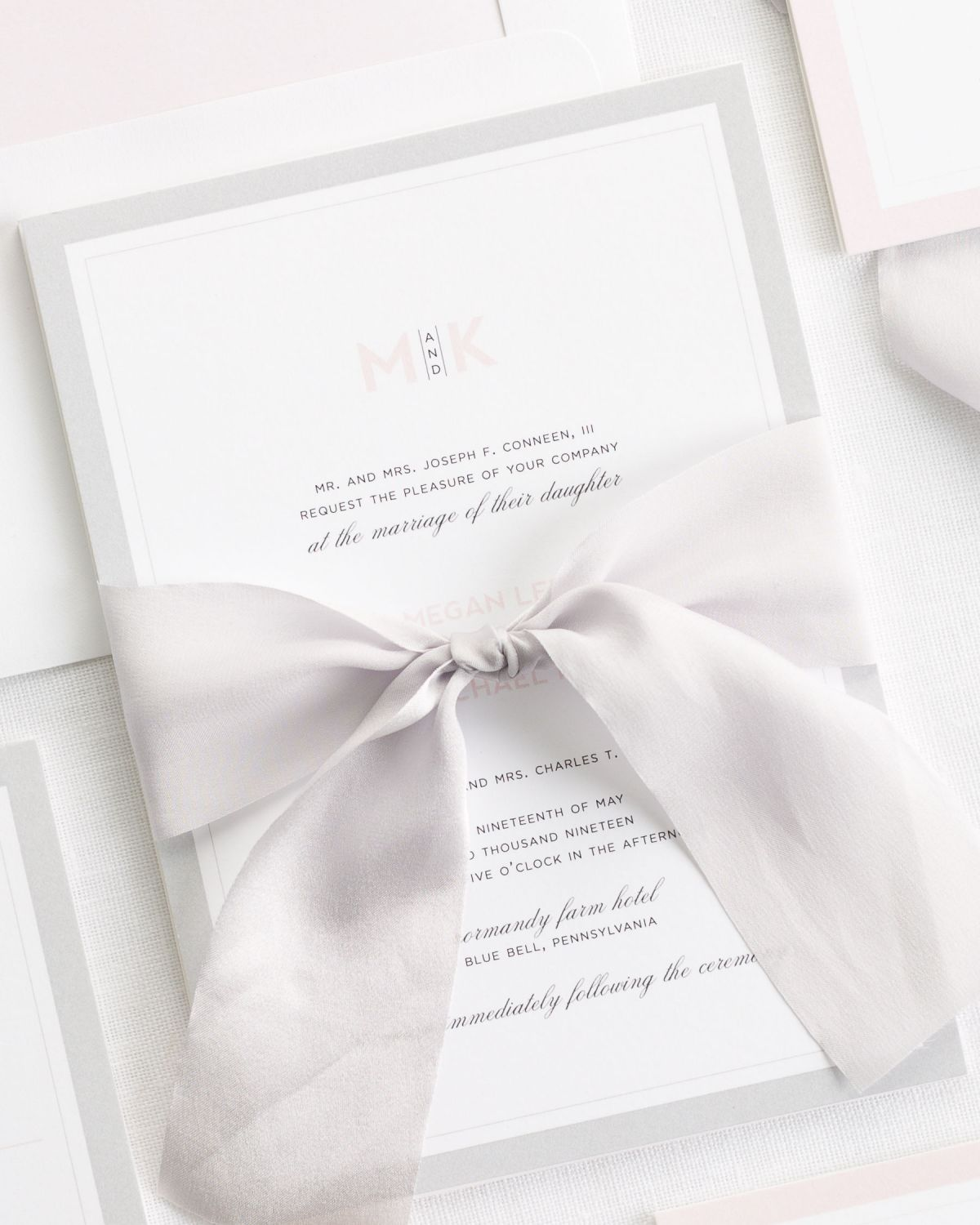 Wedding Invitations With Ribbons: Modern Initials Ribbon Wedding Invitations