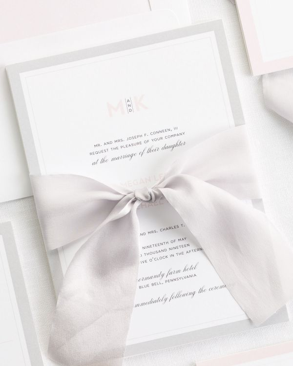 Modern Initials Ribbon Wedding Invitations