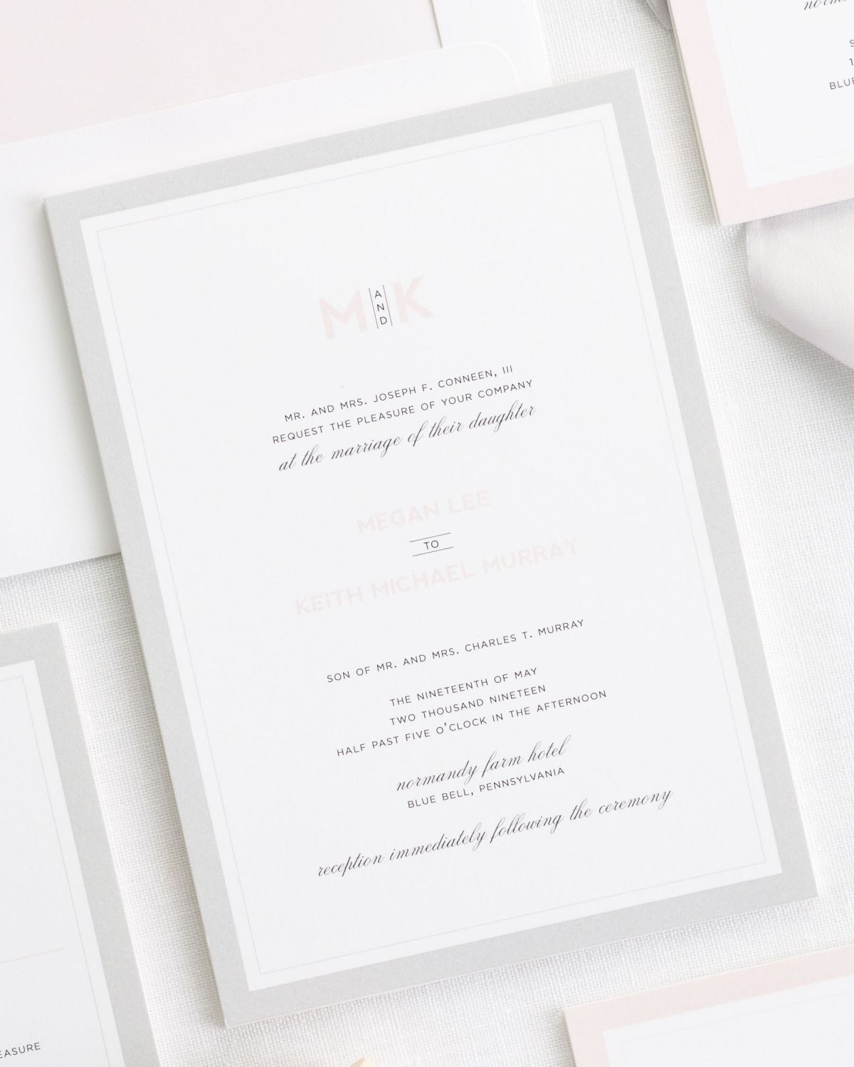 Modern Initials Ribbon Wedding Invitations - Ribbon Wedding ...