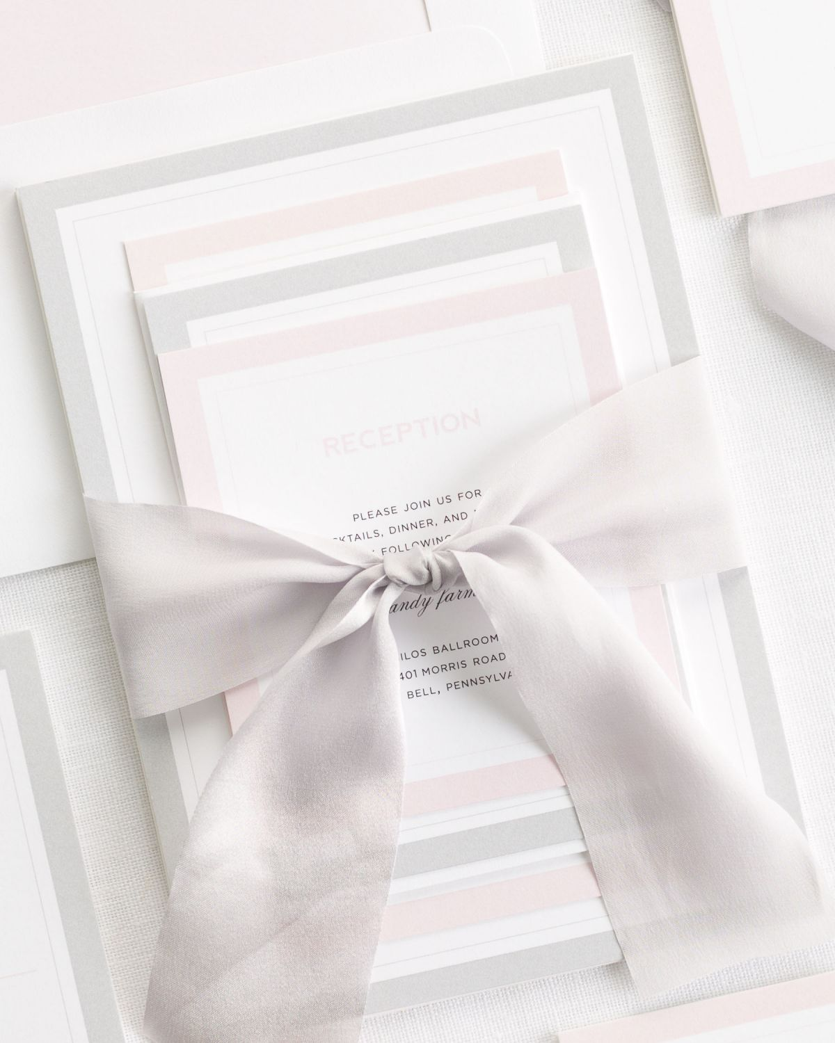 Pink and Gray Wedding Invitations