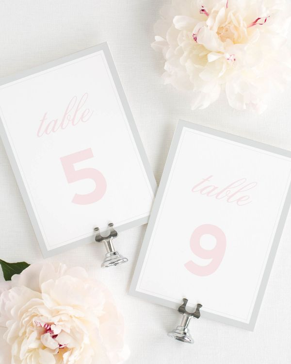 Modern Initials Table Numbers