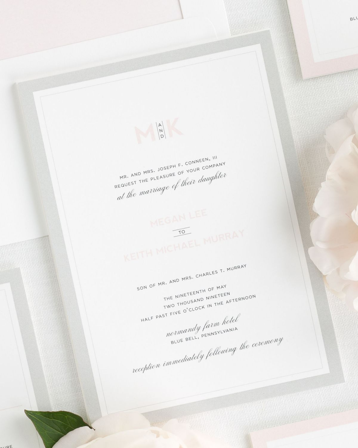 Pink and Gray Wedding Invitations Wedding Invitations by Shine