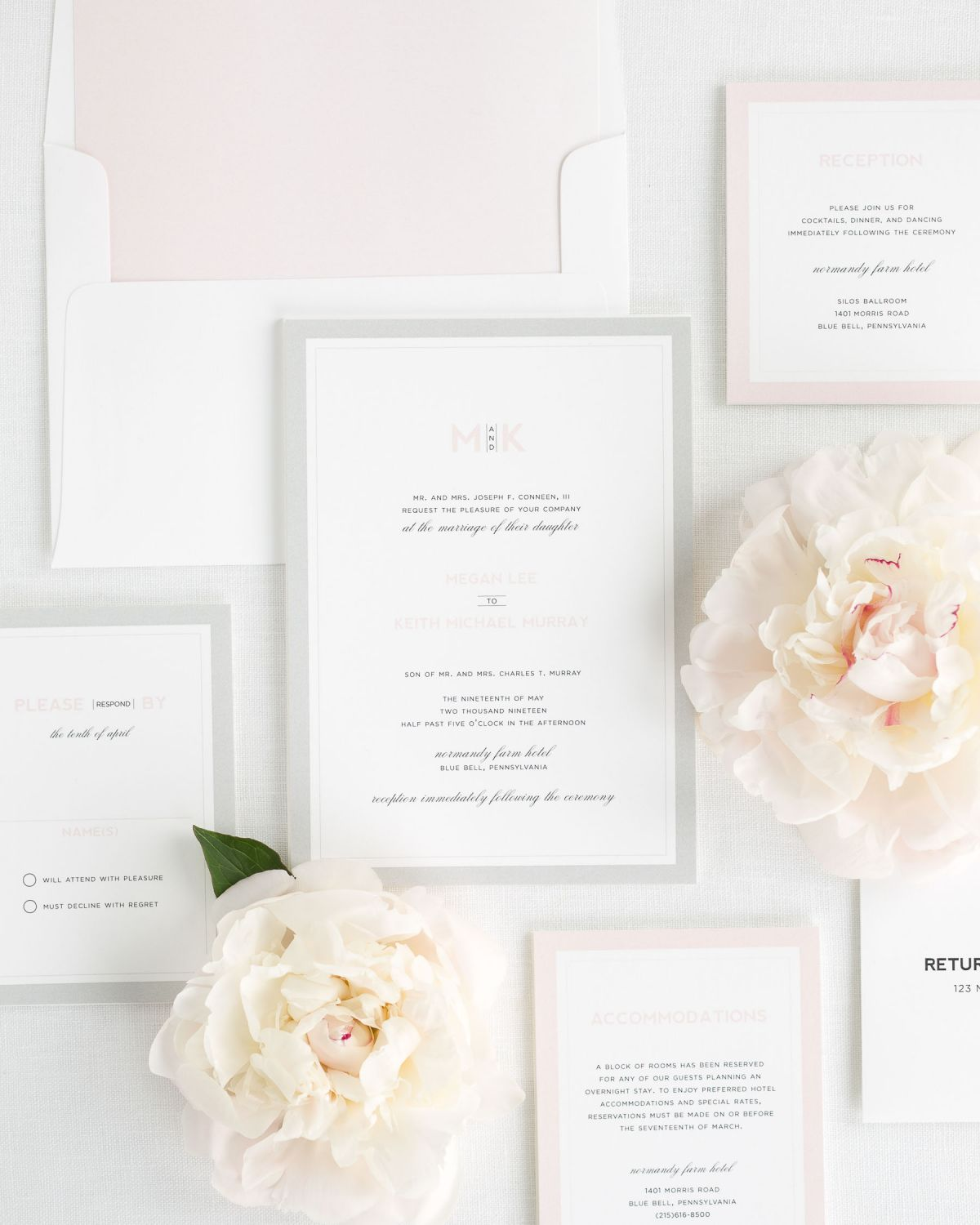 Wedding Invitation Suite with Peony Envelope Liner