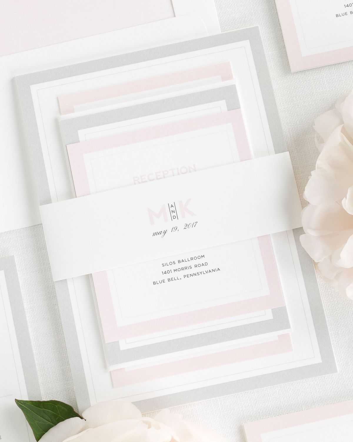 Peony Wedding Invitations with Belly Band and Solid Envelope Liner