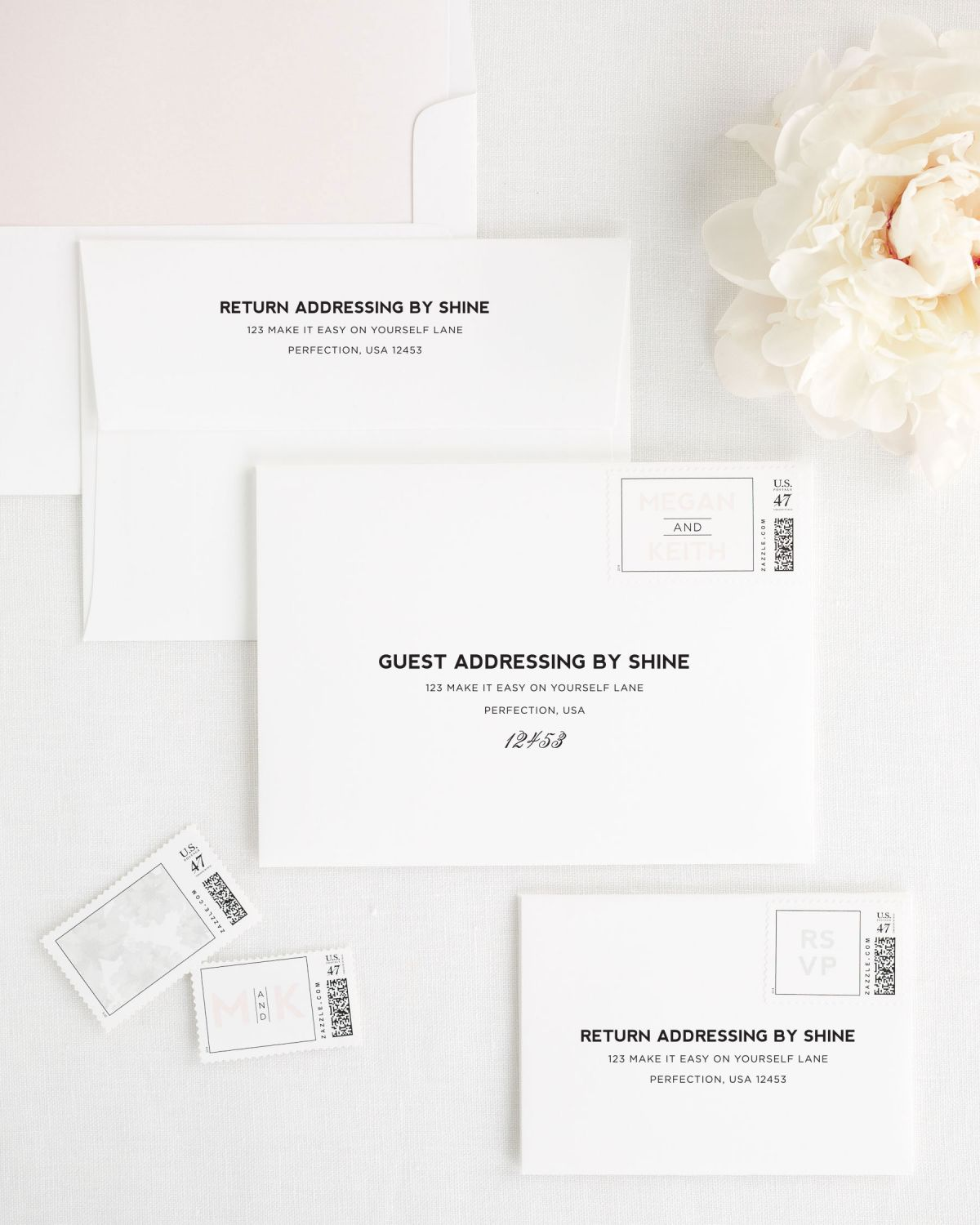 Wedding Invitation Envelopes with Peony Personalized Stamps and Solid Liner