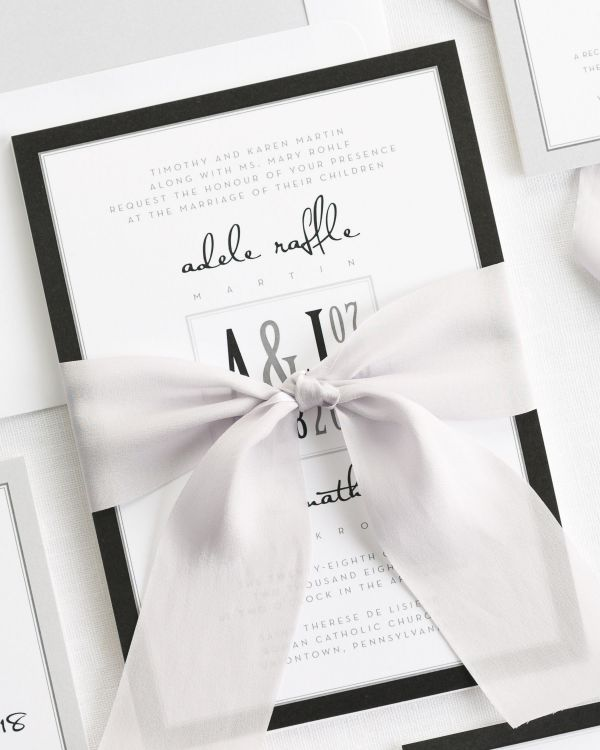 Modern Logo Ribbon Wedding Invitations