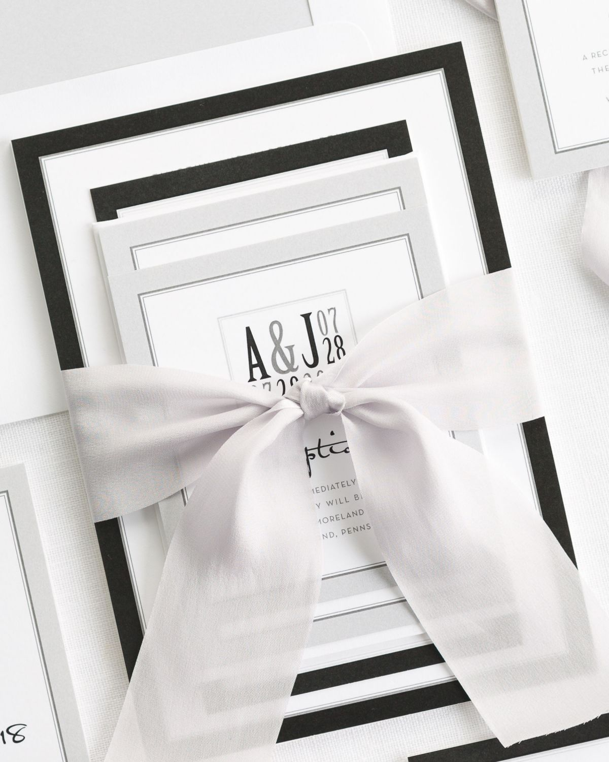 Black and Silver WEdding Invitations with Silk Ribbon