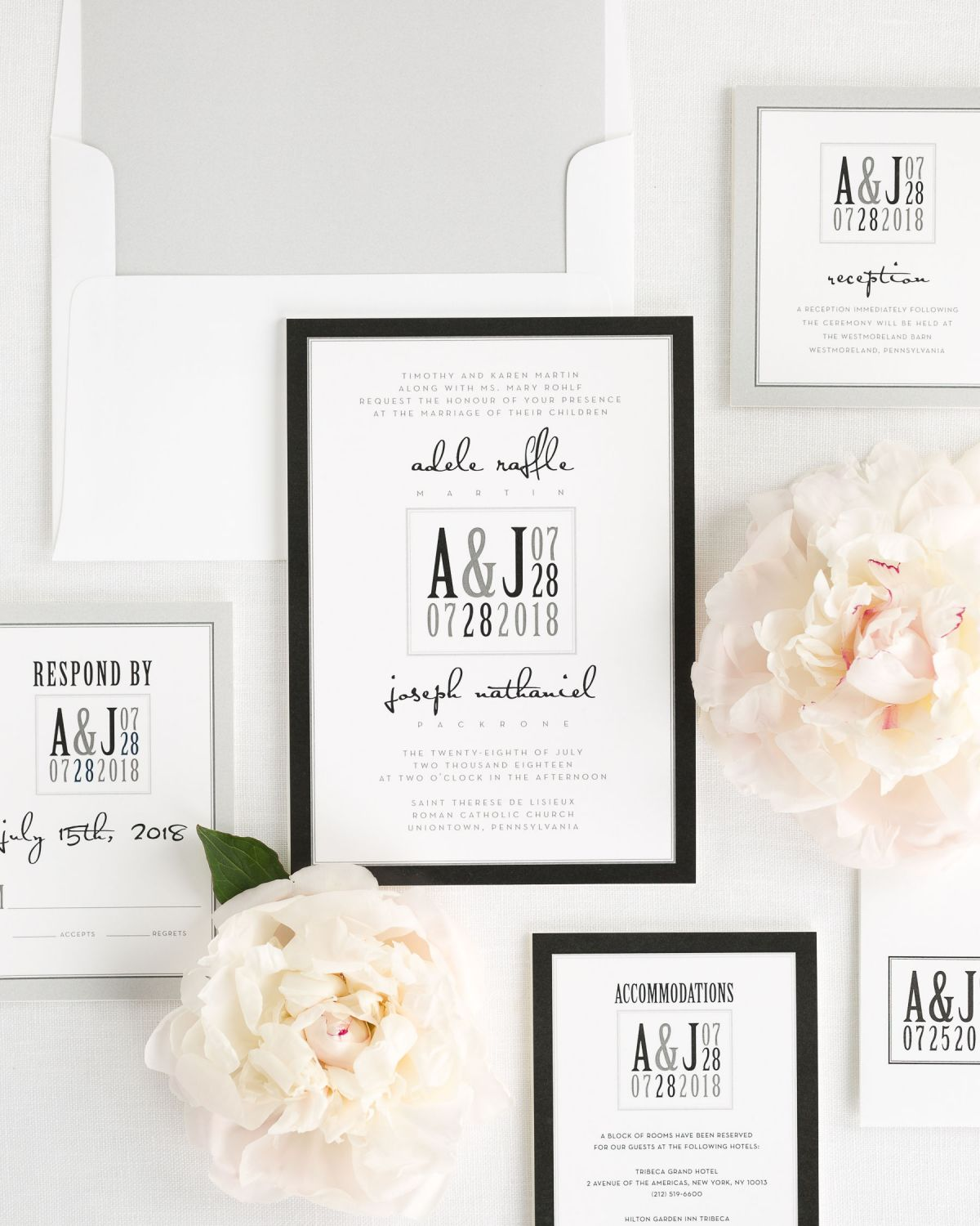 Wedding Invitations Set with Silver Liner