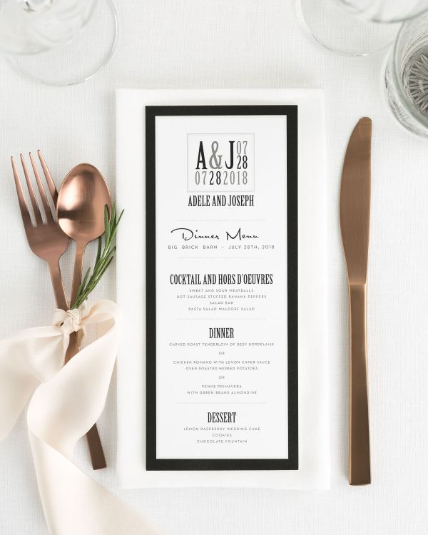 Modern Logo Tea Length Wedding Menus