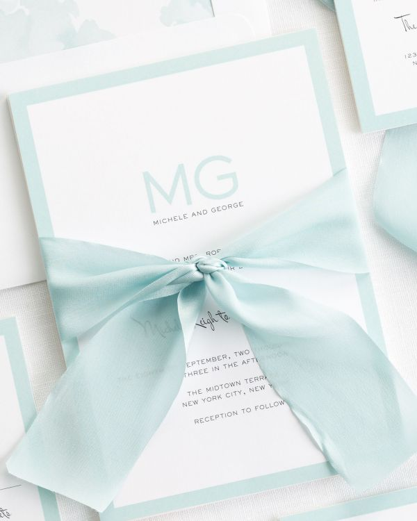 Modern Luxe Ribbon Wedding Invitations