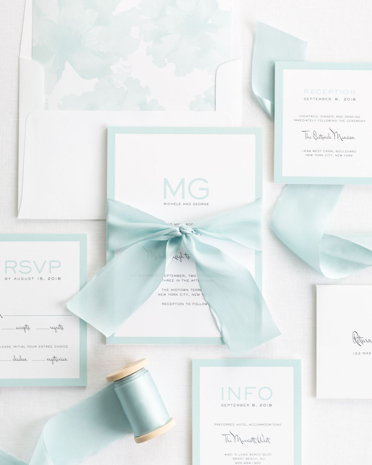 Mint Wedding Invitations with Silk Ribbon