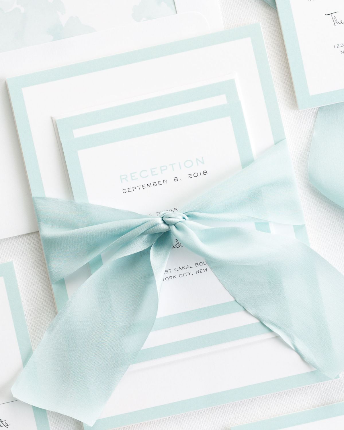 Complete Wedding Invitations Set with Mint Ribbon and Enclosures