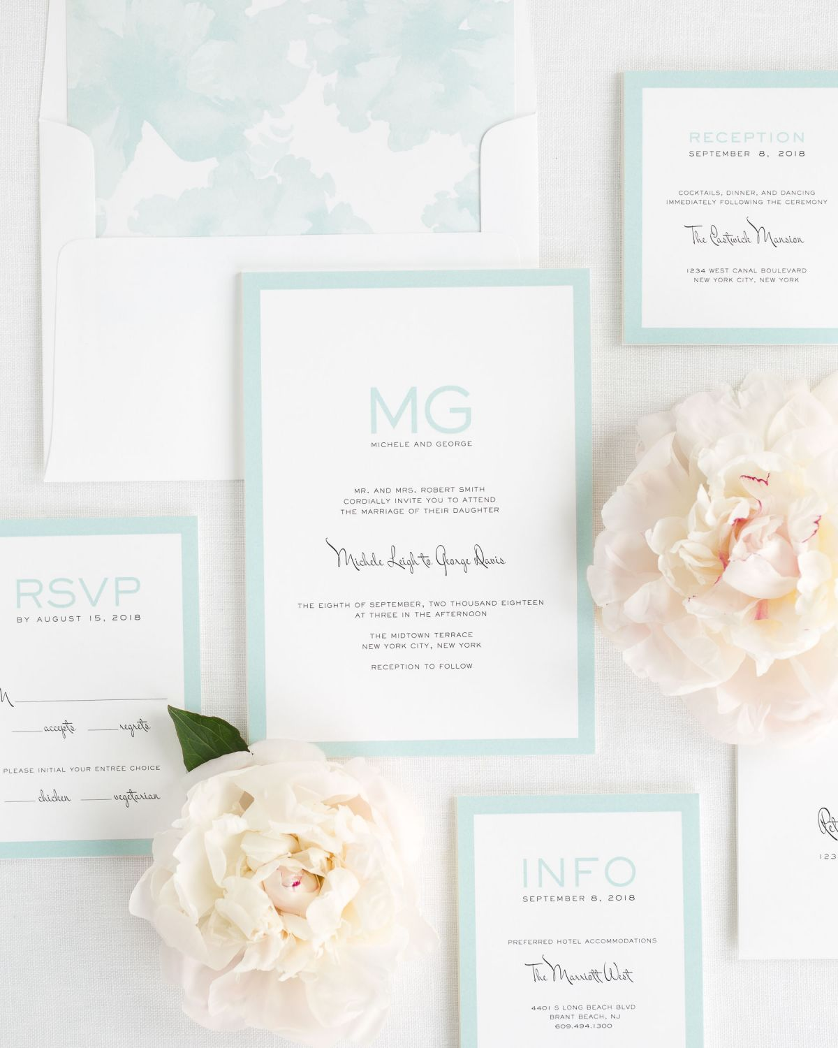 Wedding Invitation Package with Mint Envelope Liner