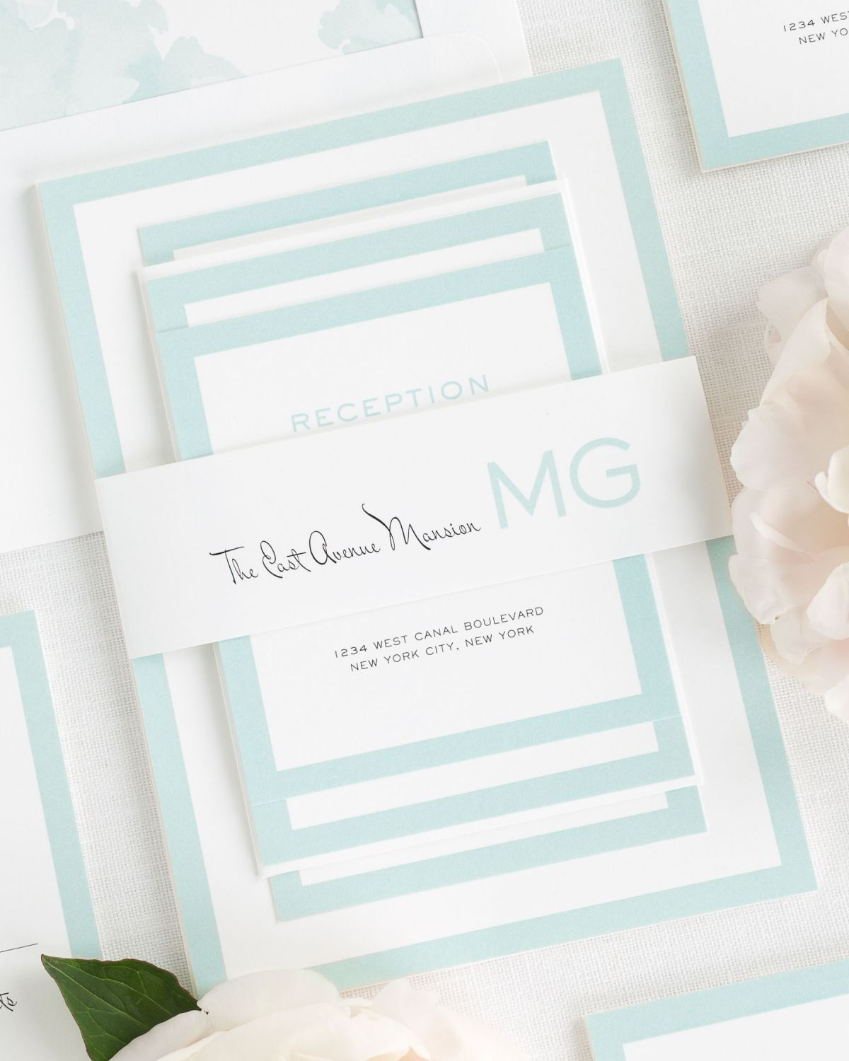 Mint Wedding Invitations with Belly Band and Watercolor Peony Envelope Liner